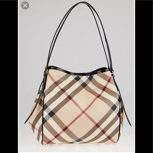 Burberry patent leather nova check tote